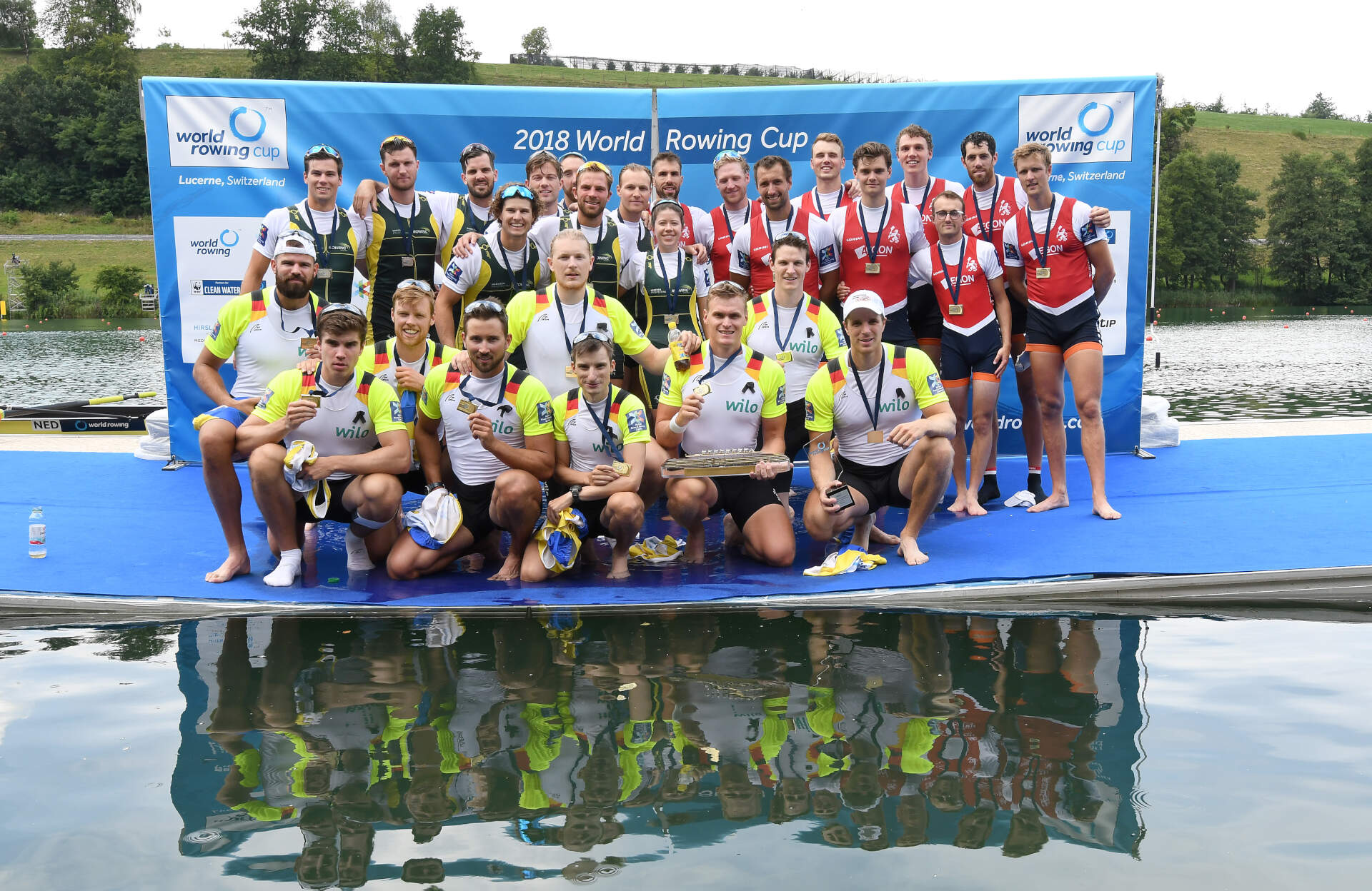 World Rowing Cup III Luzern M8 Gold Silver Bronze GER AUS NED